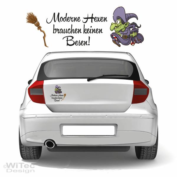 Moderne Hexen Autoaufkleber Hexe Aufkleber Auto Besen Gothic Sticker