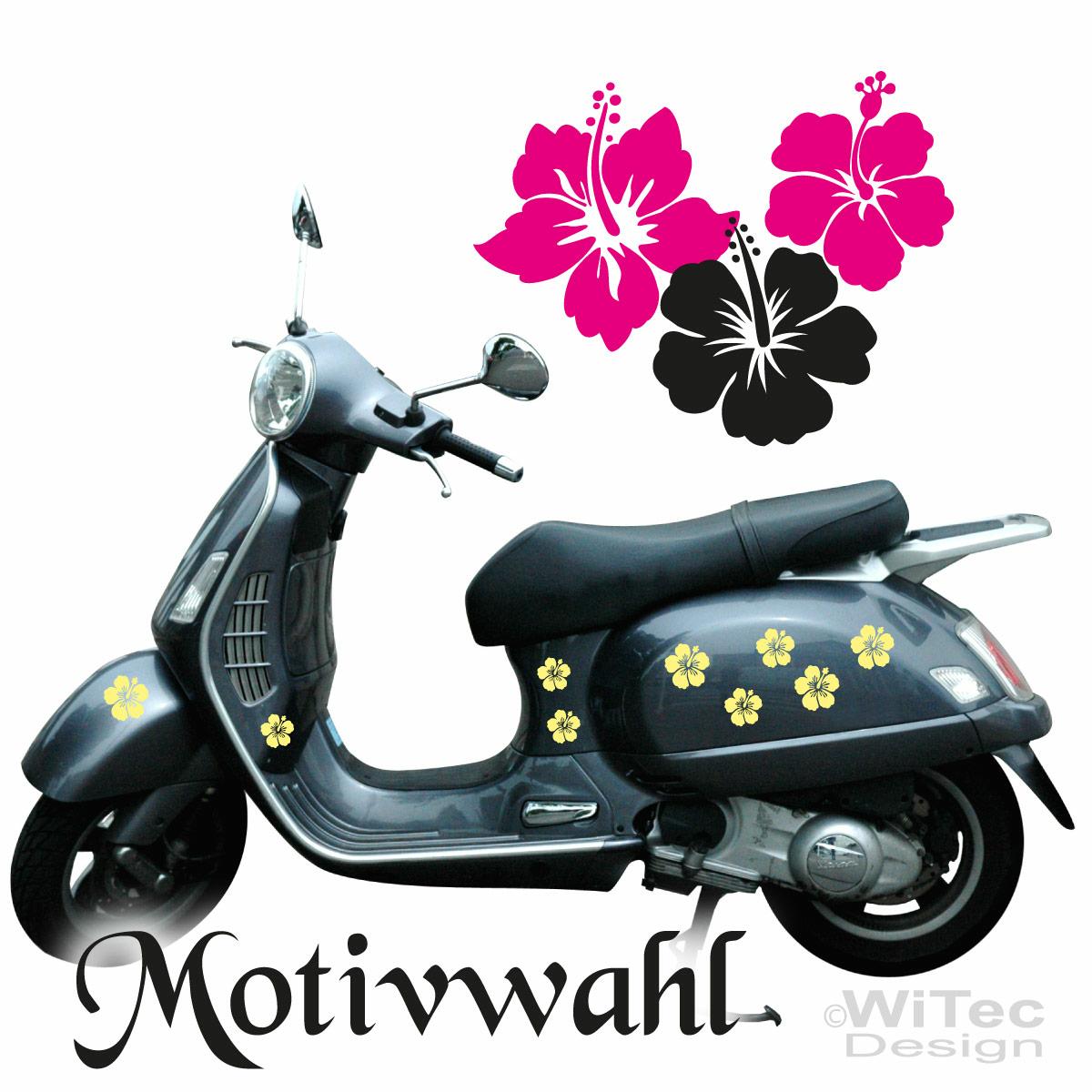 Hibiscus 24x Blumen Aufkleber Vespa Roller Bike Quad
